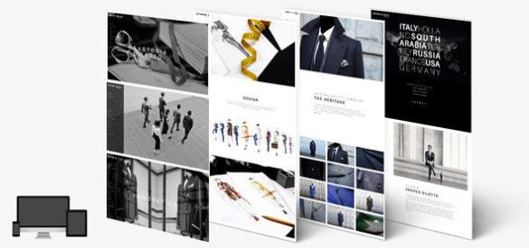 Übersicht über 4 Unterseiten der responsiven Website von Sartorio Diletto