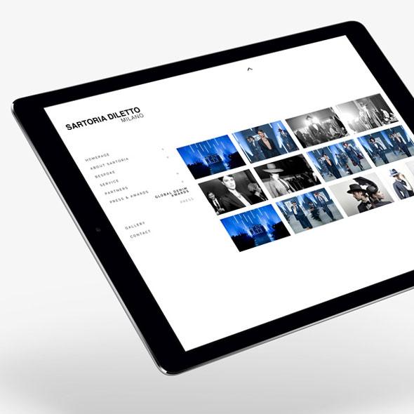 Die responsive Website von Sartorio Diletto auf einem Tablet