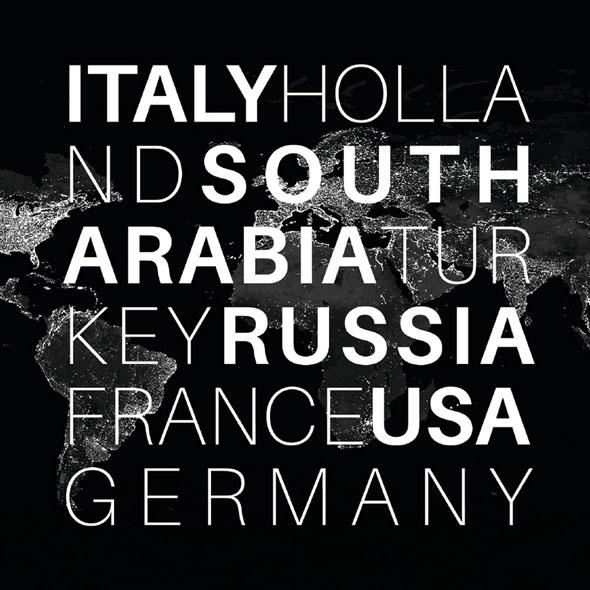 Eine abgedunkelte Weltkarte, auf der die Länder stehen, in denen Sartorio Diletto seine Leistungen anbietet