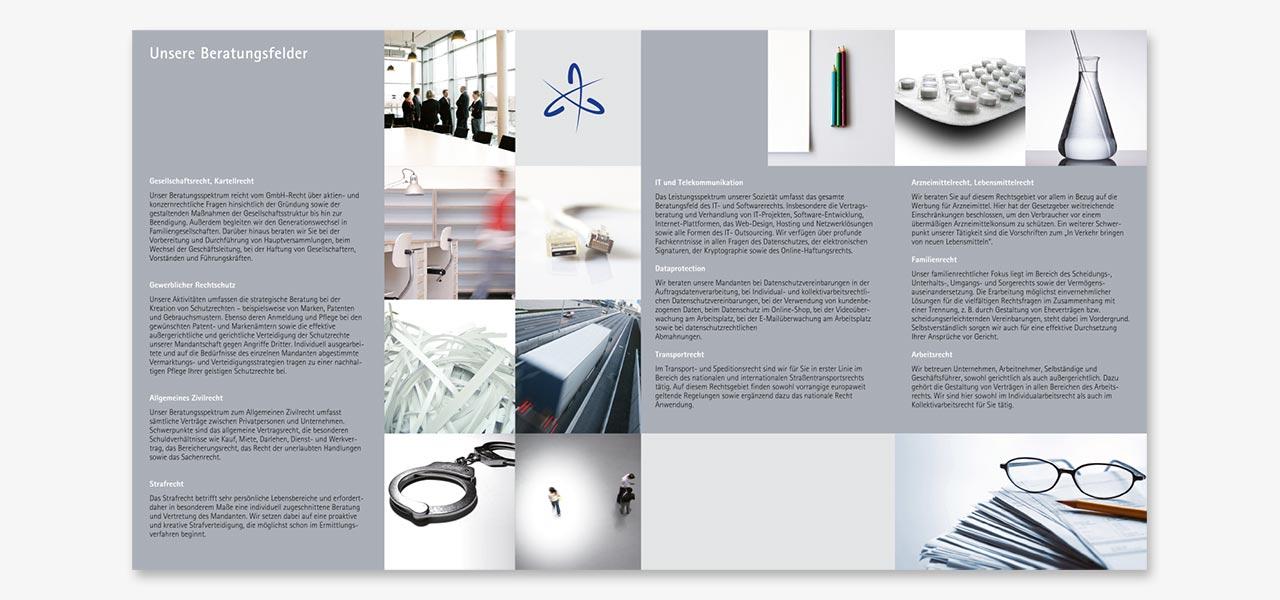 Eine Infobroschüre der Anhäusser, Unger & Bergien Rechtsanwälte, gestaltet von der AKSIS Werbeagentur