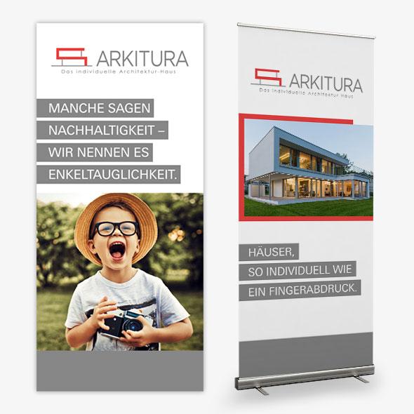 Rollups für Arkitura, gestaltet ovn der AKSIS Werbeagentur