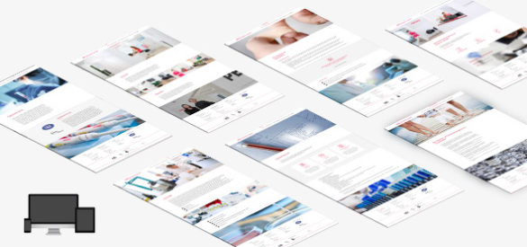 Übersicht über 6 Unterseiten der responsiven Website von BGU Blutgerinnung Ulm gestaltet von der AKSIS Werbeagetur