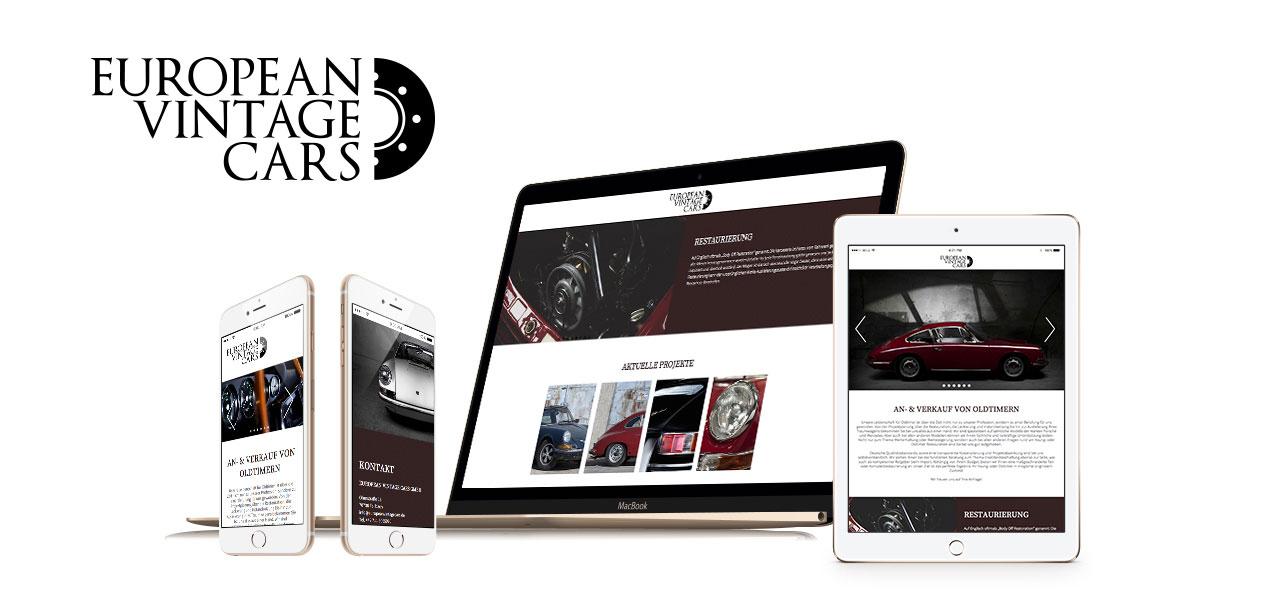Übersicht über die Darstellung der responsiven Website von European Vintagecars entworfen von der AKSIS Werbeagentur