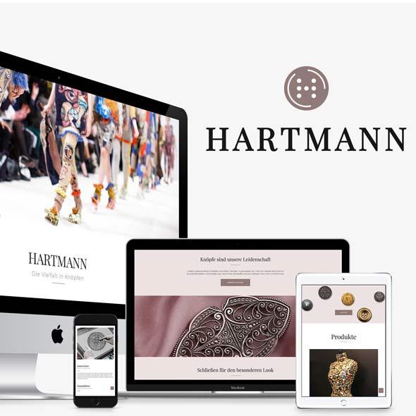 Darstellung der responsiven Website mit Onlineshop von Hartmann Knöpfe, gestaltet von der AKSIS Werbeagentur
