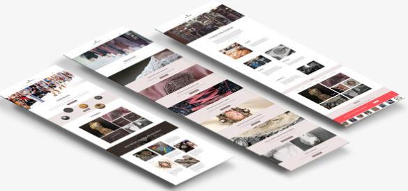 Drei Übersichtsseiten von der neuen responsiven Website von Hartmann Knöpfe