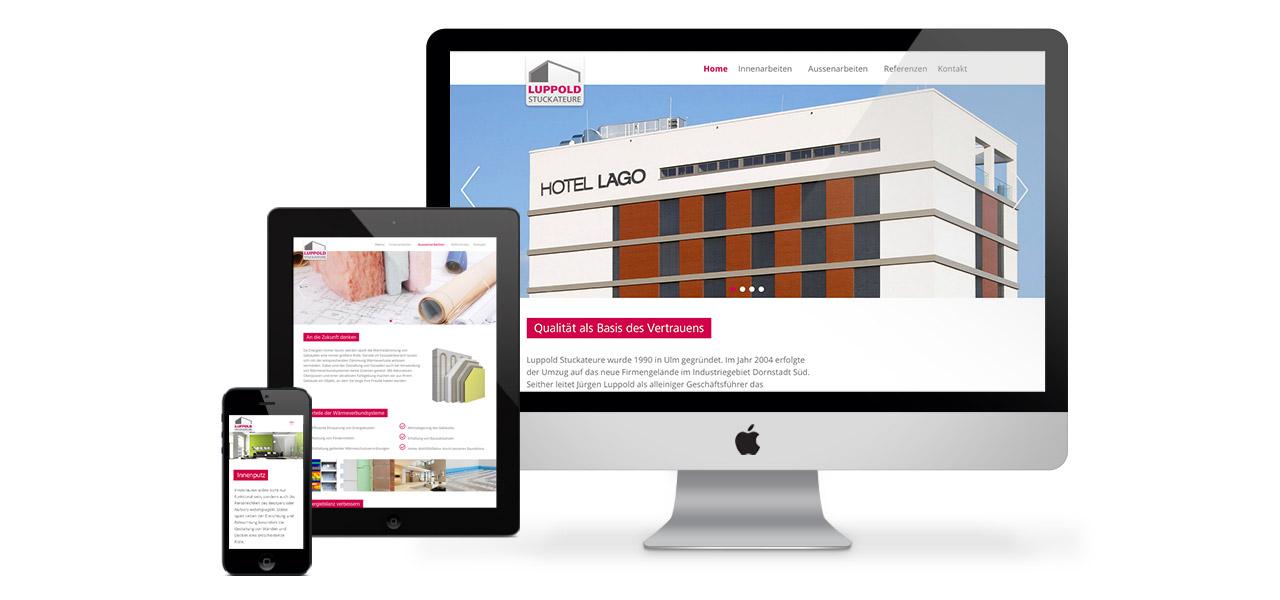 Übersicht über die Ansicht der responsiven Website von Luppold GmbH Stuckateure auf verschiedenen Geräten