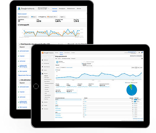 Zwei Tablets zeigen die Oberfläche von Google Analytics und AdWords die für die Suchmaschinenoptimierung und Suchamschinenwerbung genutzt werden.