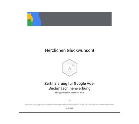 Das Zertifikat der AKSIS Werbeagentur für Google Suchmaschinenwerbung