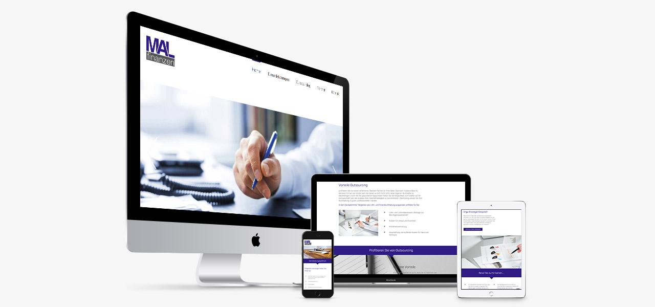 Übersicht über die Darstellung der responsiven Webseite von MAL Finanzen auf verschiedenen geräten