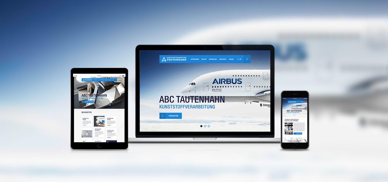 Darstellung der responsiven Website von ABC Tautenhan auf verschiedenen Geräten