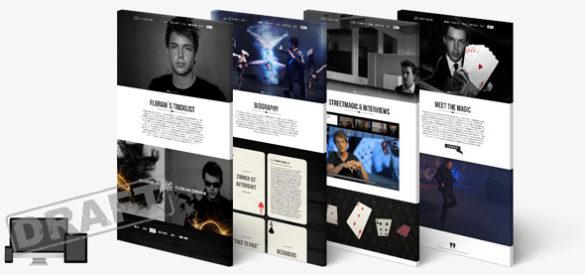 Übersicht über vier Unterseiten der responsiven Website von Florian Zimmer