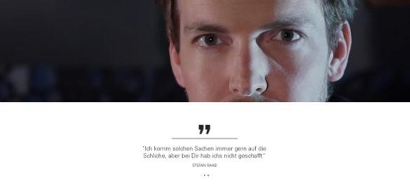 Ausschnitt aus der Website von Florian Zimmer, auf dem sein Gesicht und ein Zitat von ihm zu sehen ist.
