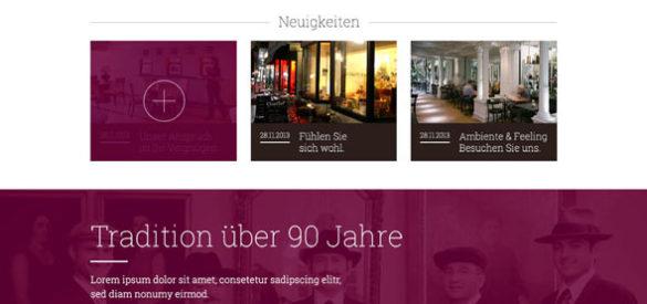 Ansicht der Neuigkeiten auf der Website des Grand Café Rau
