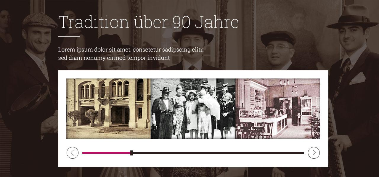 Entwurf der Website mit einem interaktiven Zeitstrahl für das Grand Cafe Rau