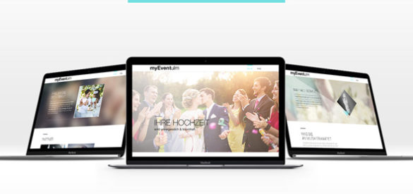Drei Laptops zeigen verschiedene Ausschnitte der responsiven Website von MyEvent Ulm