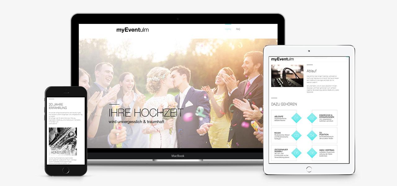 Darstellung der responsiven Website von myEventUlm auf verschiedenen Geräten