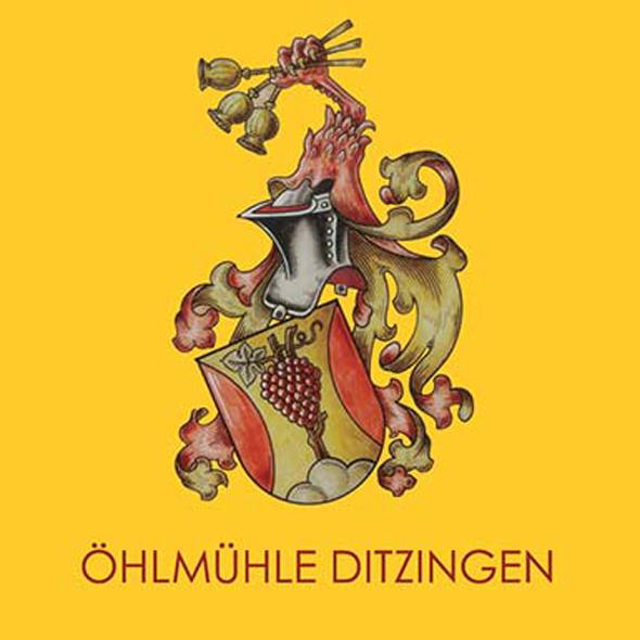 Logo der Ölmühle Ditzingen, Wappen mit Ritterhelm und Verzierungen