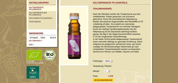 Screenshot der Website mit Onlineshop der Ölmühle Ditzingen