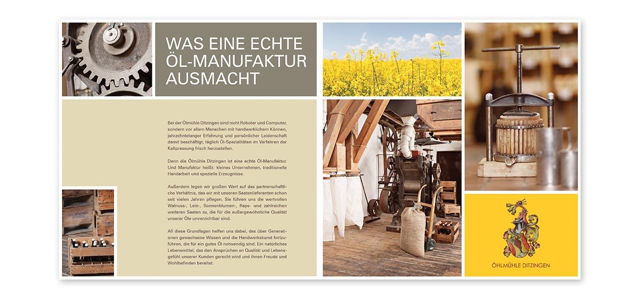 Ansicht des Flyers, den die AKSIS Werbeagentur für die Ölmühle Ditzingen erstellte