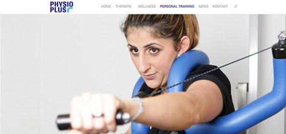 Header der Website von Physio Plus