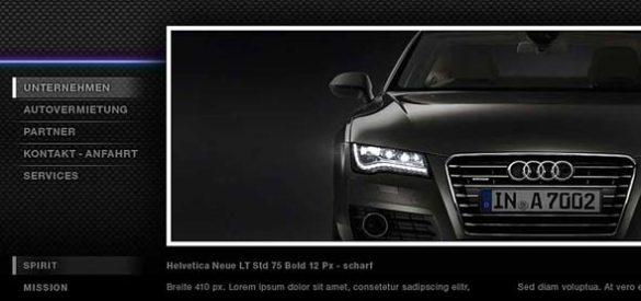 Ausschnitt der Website von Platinum Cars