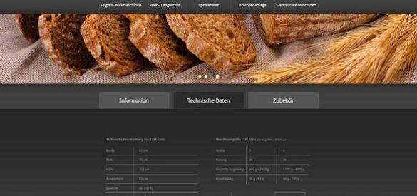 Ausschnitt aus der Website von Schneider Bäckereisysteme