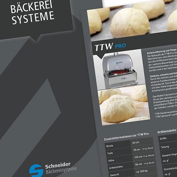 Ausschnitt / Detailansicht des Katalogs / Imagebroschüre von Schneider Bäckereisysteme