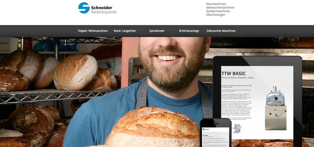 Website von Schneider Präzesionstechnik Baeckereisysteme mit responsiver Darstellung auf verschiedenen Geräten