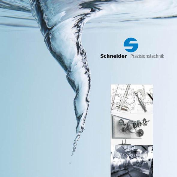 Ein Wasserstrudel neben dem Logo von Schneider Präzesionstechnik neben Explosionszeichnungen von Geräten