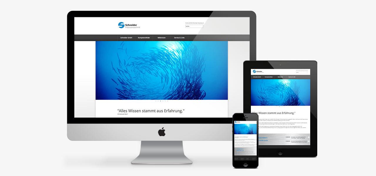 Übersicht über die Darstellung der responsiven Website auf verschiedenen Geräten