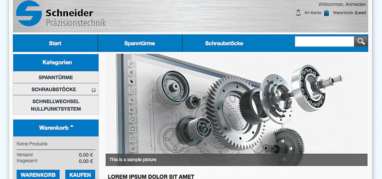 Screenshot der Website von Schneider Präzesionstechnik