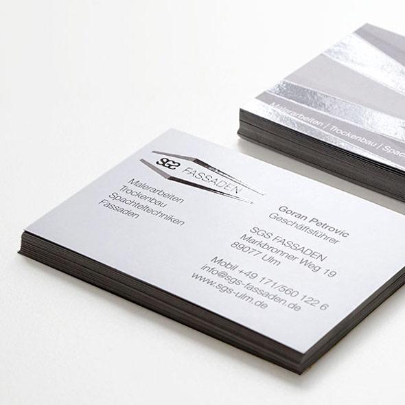 Visitenkarten mit partieller Lackveredelung für SGS Fassaden
