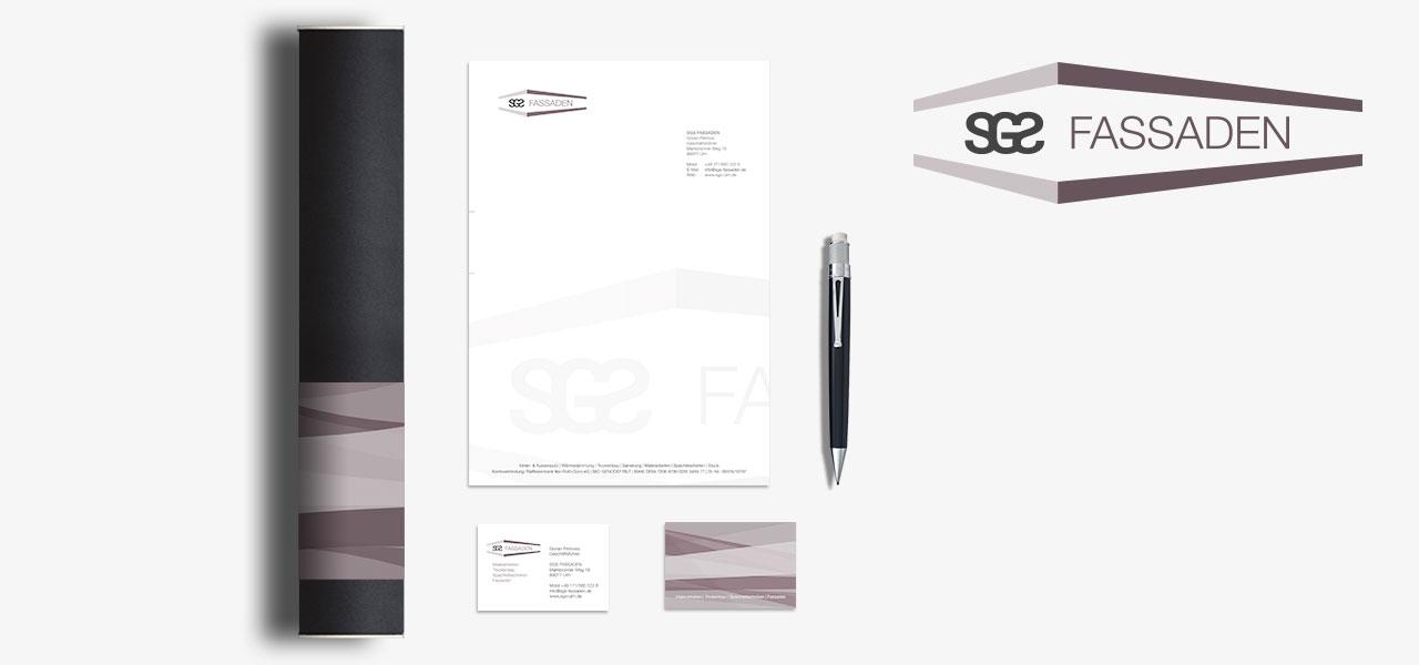 Übersicht über die erstellten Medien für SGS Fassaden, Corporate Design