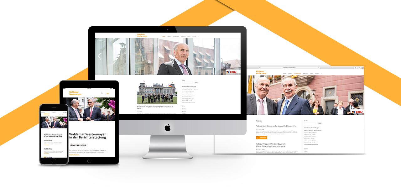 Übersicht über die responsiven Ansichten der Website auf verschiedenen Geräten