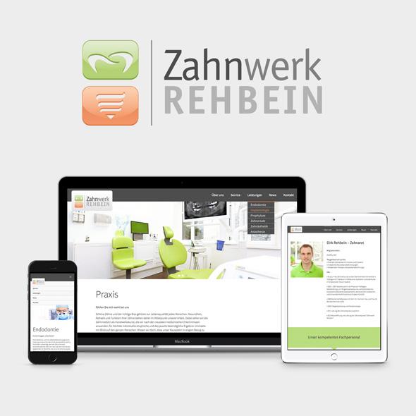 Logo und die responsive Website von Zahnwerk Rehbein