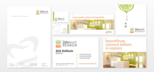 Übersicht über die für das Corporate Design erstellten Medien & Geschäftspapiere