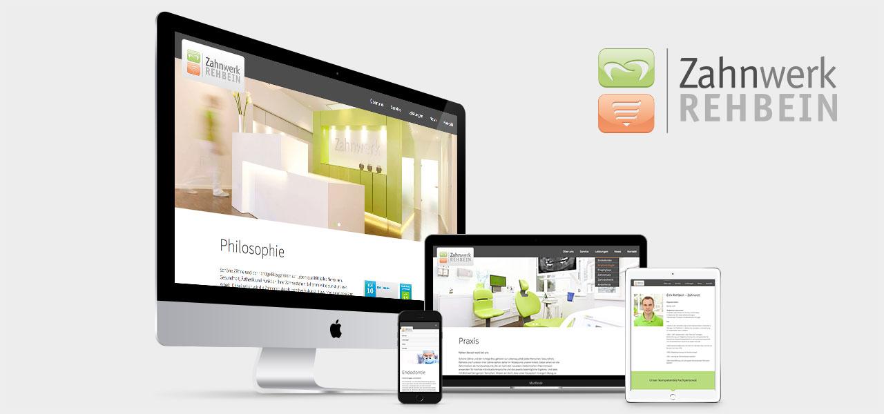 Übersicht über die Darstellung der responsiven Website von Zahnwerk Rehbein auf verschiedenen Geräten
