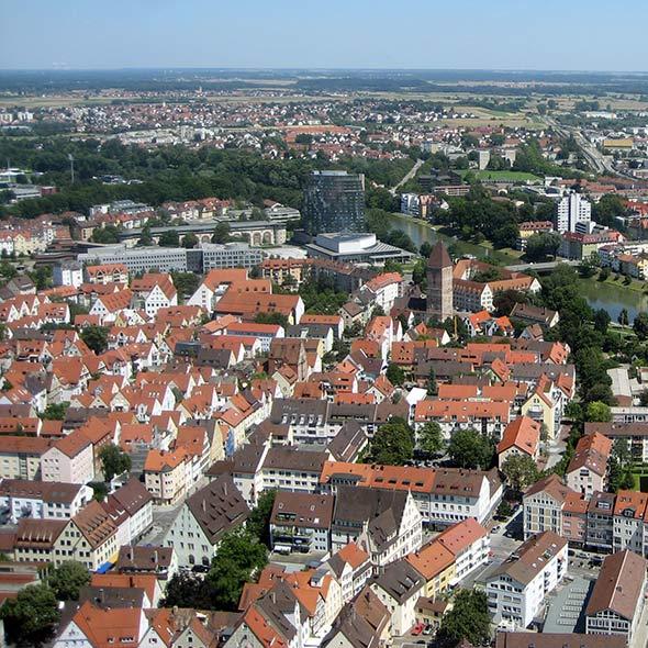 Luftbildaufnahme der Stadt Ulm