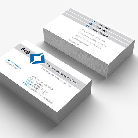 Visitenkarten von FS Finanzservice, gestaltet von der AKSIS Werbeagentur