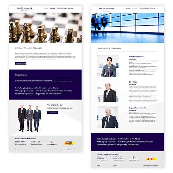Zwei Seiten der Webseite die für Hoelzel und Wanner entwickelt wurde