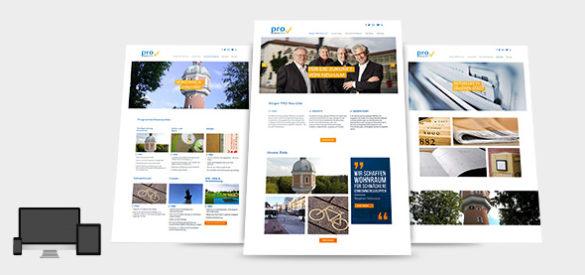 3 Gesamtansichten der Website der Partei Pro Neu-Ulm, die die Aksis Werbeagentur entworfen und umgesetzt hat