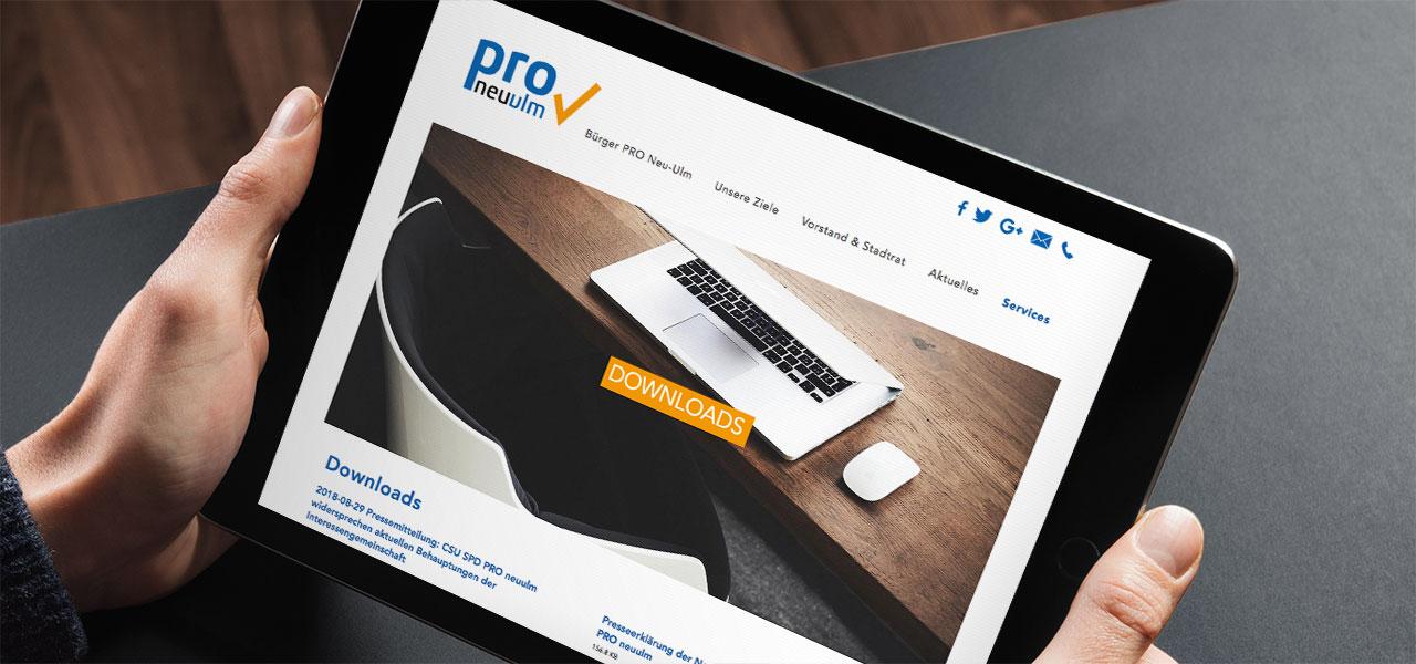 Die AKSIS Werbeagentur gestaltete die Webseite der lokalen Partei PRO Neu-Ulm