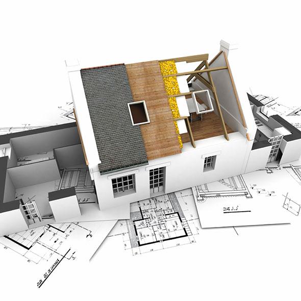 Grundriss & Modell eines Hauses, bei dem man die verschiedenen Schichten des Daches sieht