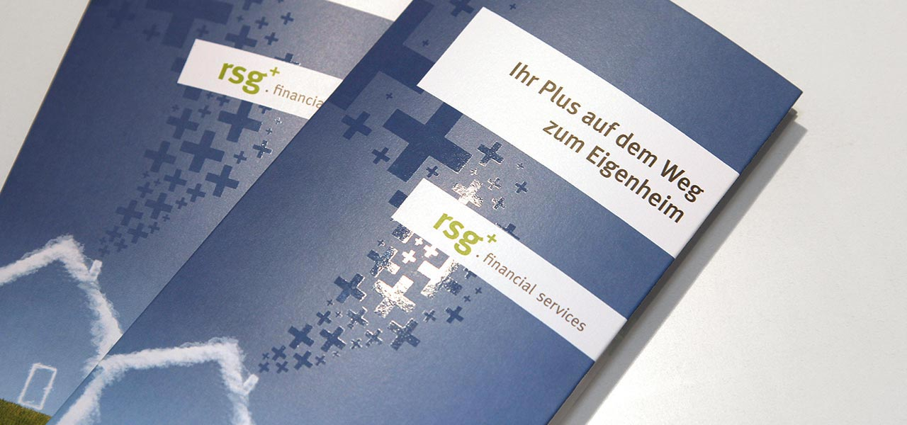 Deckblatt des Flyers, den die Aksis Werbeagentur für rsg financial services entwarf.