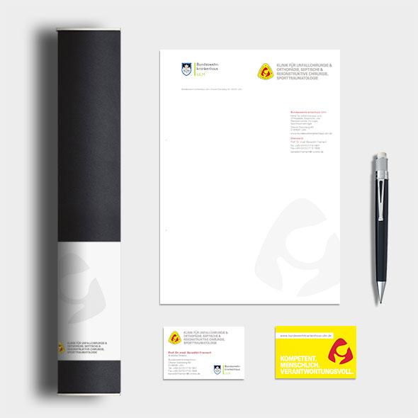 Corporate Design des Bundeswehrkrankenhauses Ulm, neu gestaltet von der AKSIS Werbeagentur