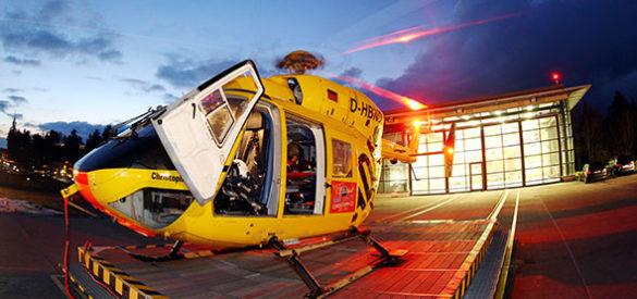 Notfall Hubschrauber auf einem Landeplatz