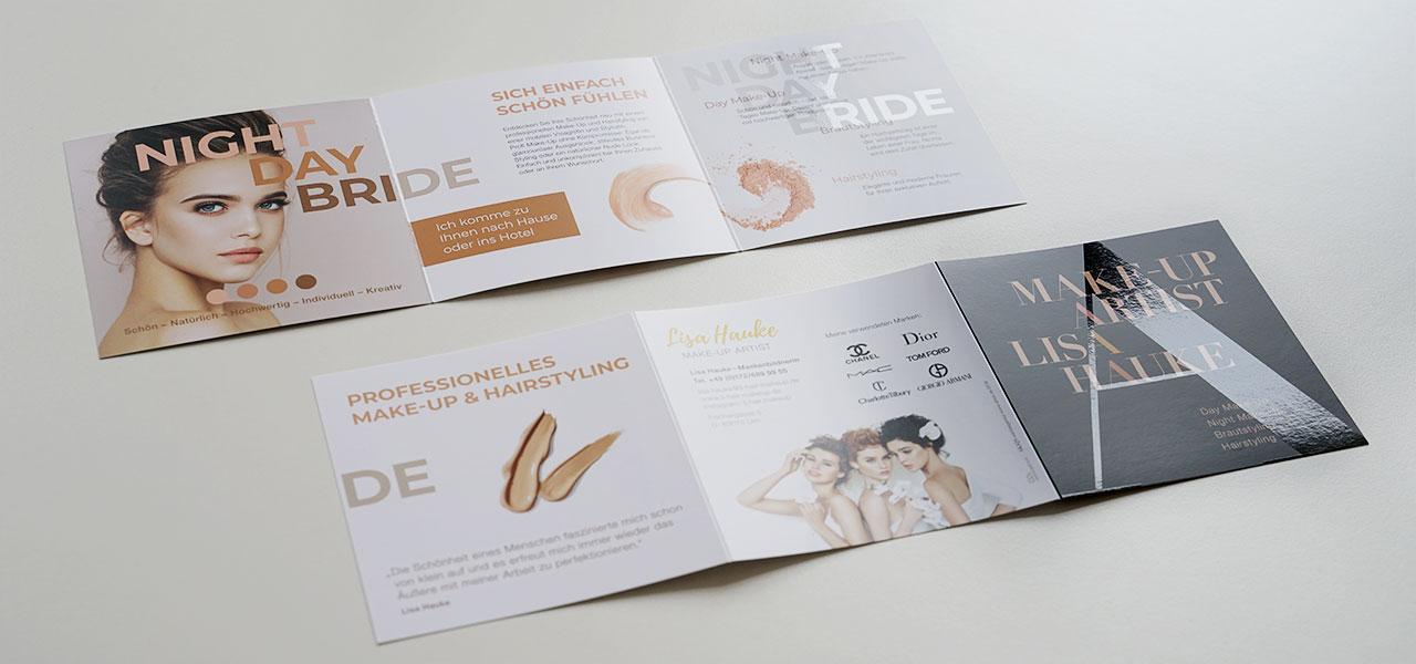 Flyer für Make-Up Artist, Lisa Hauke, gestaltet von der AKSIS Werbeagentur Ulm