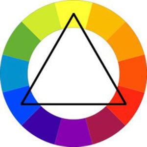 Farbkreis mit triadischem Farbschema